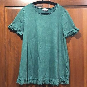 Alterd state large green top ruffle sleeves swing